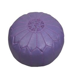 Lilac Moroccan ottoman pouf, hand crafted in fine leather with sabre silk embroidery and embroidered star feature.