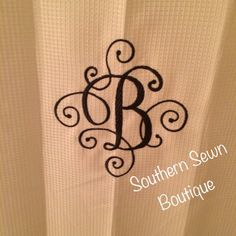 Scroll Monogrammed Shower Curtain 70x72 by SouthernSewnBoutique