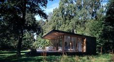 Designed by Christensen & Co. Architects in conjunction with Pernille Poulsen, this Summer Cottage In Denmark is a canopied timber structure measuring only 689 square feet but because of its de… Self Build Houses, Timber Structure, Farm Stay, Minimalist House Design, Modern Cottage, Forest House, New Home Designs, Cabins In The Woods, Pool Houses