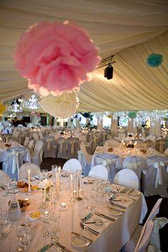 Ballybeg table setting Tipi Wedding, Marquee Wedding, Wedding Tissues, Reception Decorations, Table Decorations, Tissue Pom Poms, Wedding Inspiration, Wedding Ideas, Irish Wedding
