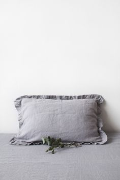 Light Grey Frilled Stone Washed Linen Pillow Case