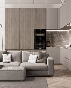 Open concept living and kitchen, chic modern minimalism.