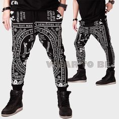 ebay Men black white religious totem rune graphic ethnic religion baggy pants hip hop kpop gdragon g dragon kanye west fashion men style urban streetwear street fashion goth ghetto adyn korean style exo sweatpants