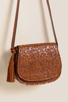 Nellie Embossed Saddle Bag Crossbody
