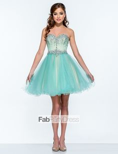 A-line Beading Tulle Cocktail Dresses / Homecoming Dresses