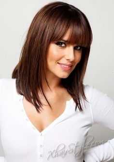 Straight Medium Hairstyles with Bangs Picture (5)