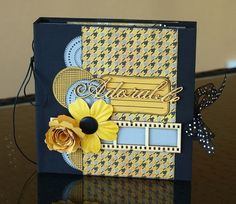 by scrapucine with tutorial (French)--- looks like a decorated photo album love the yellow and blues Album Photo Scrapbooking, Mini Albums Scrapbook, Scrapbook Journal, Scrapbook Cards, Mini Album Scrap, Mini Album Tutorial, Minis, Paper Crafts, Diy Crafts