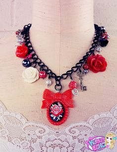 Wonderland Charm Necklace: The Red Queen's Rose Garden by KelseaEcho on Etsy