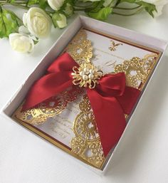Gold wedding invitation gold box invitation gold metallic
