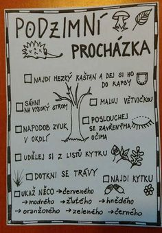Podzimní procházka Fall Preschool Activities, Outdoor Activities For Kids, Preschool Worksheets, Art For Kids, Crafts For Kids, School Psychology, School Humor, School Classroom, Viera