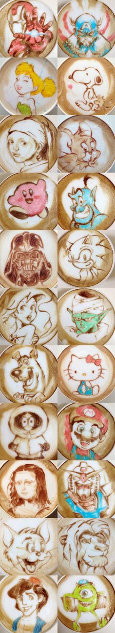 All kinds of Latte Art. ❤☕