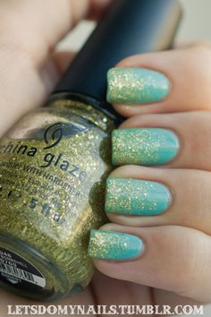 Top Coat: Seche Vite Color: China Glaze Blonde Bombshell over China Glaze For Audrey Base: OPI Nail Envy