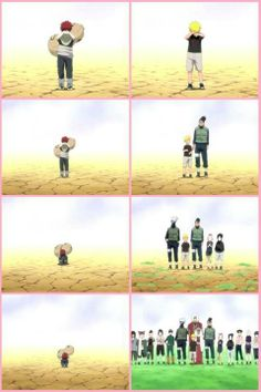 How much more Gaara has overcome. Naruto will always come into the last frame of Gaara and save him from the pain of being alone.
