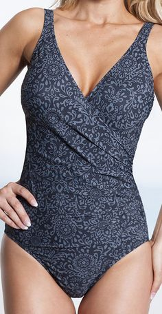 Miraclesuit - Tapestry Floral Wrap Swimsuit (Slate). Comes in multiple patterns.