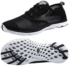 Aleader Womens Quick Drying Aqua Water Shoes Black 8 DM US ** Learn more by visiting the image link.