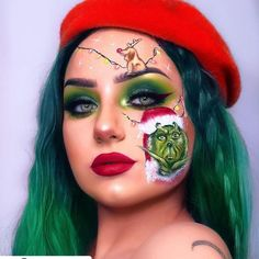 Christmas Makeup Look 2018 Step By Step - christmas makeup looks - latest trends 2018 Makeup Looks 2018, Crazy Makeup, Cute Makeup, Pretty Makeup, Makeup 2018, Amazing Makeup, Amazing Art, Halloween Look, Halloween Makeup