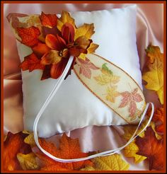 Wedding ring pillow #Fall #Wedding #Ideas … Wedding #ideas for brides, grooms, parents & planners https://itunes.apple.com/us/app/the-gold-wedding-planner/id498112599?ls=1=8 … plus how to organise an entire wedding, within ANY budget ♥ The Gold Wedding Planner iPhone #App ♥ http://pinterest.com/groomsandbrides/boards/  for more #wedding inspiration #autumn #wedding #brown #chocolate