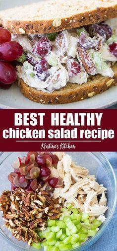 Easy Salad Recipes, Chicken Salad Recipes, Recipe Chicken, Chicken Salad Sandwiches, Simple Chicken Salad, Healthy Recipes With Chicken, Simple Healthy Recipes, Lunch Sandwiches, Healthy Steak