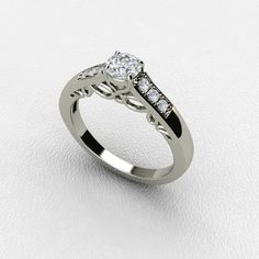 A Classic Diamond Engagement Ring with Side Diamonds on the Band ***(FOR DISCOUNT USE COUPON CODE: PramodWBMKD)***