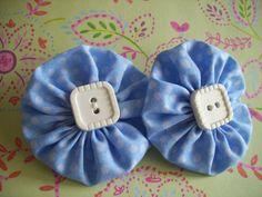 Blue Polka Dot Fabric YoYo Barrettes Hair by LittleDollysShop, $3.50