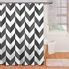 image of Razor Shower Curtain in Grey/White