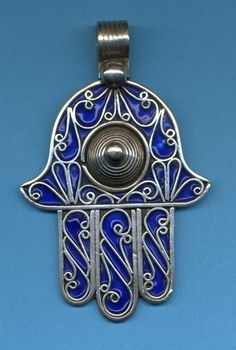 Silver & Blue Enamel Moroccan Berber Hamsa Evil Eye Amulet Talisman Pendant