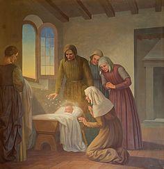 Questa tela raffigura il prodigio delle api che visitano Rita neonata, adagiata nella culla, mentre il padre attonito e la madre in ginocchio assistono alla scena assieme ad altre tre persone.