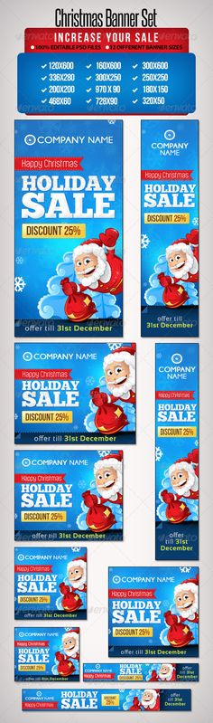Christmas Banner Set 5 - 12 Sizes - Banners & Ads Web Elements Christmas Names, Christmas Banners, Christmas Holidays, Web Banner Design, Web Banners, 404 Pages, Keyword Planner, Handmade Baby Blankets, Banner Template