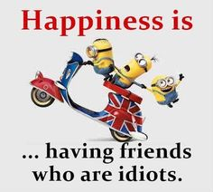 Happiness is ... having friends who are idiots. - minions