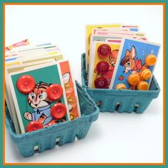 Sew buttons on old kids game cards for display. Or use for pins and jewelry. bliss & vinegar