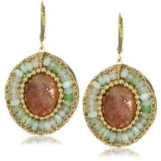 "Eva Hanusova ""Carneval Night"" Sunstone Peruvian Opal Leather Earrings - designer shoes, handbags, jewelry, watches, and fashion accessories 