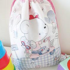 Sac à doudou - sac à goûter - sac polochon pour enfants avec motif ourson - sac pour école