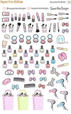 KAWAII Beauty sampler planner stickers - for your Erin Condren Life Planner… Calendar Stickers, Journal Stickers, Printable Planner Stickers, Scrapbook Stickers, Printables, To Do Planner, Free Planner, Happy Planner, Kawaii Planner