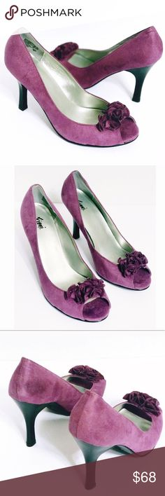 Fioni purple suede open-toed heels Fioni purple suede open toe heels  Item: Fioni purple suede pumps Color: purple Style: open toe purple heels with floral embellishments Size: 8.5  **Please see all photos. Feel free to ask any questions before purchase**   BIN# A138 FIONI Clothing Shoes Heels