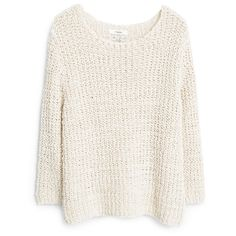 MANGO Open-Knit Sweater ($70) ❤ liked on Polyvore featuring tops, sweaters, shirts, jumpers, mango shirt, long sleeve tops, long sleeve jumper, round top and white top