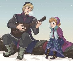 Anna and Kristoff, he takes his time to sing to her!
