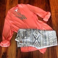 Coral and printed leggings