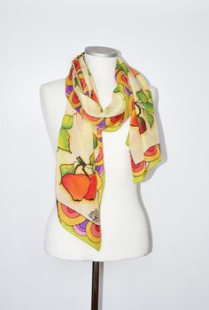 Silk Scarf Hand painted with red apples. Fall Scarf. Silk scarves. Fall Accessory. Woman Scarf. Gift for her. Christmas gift. Ready to ship