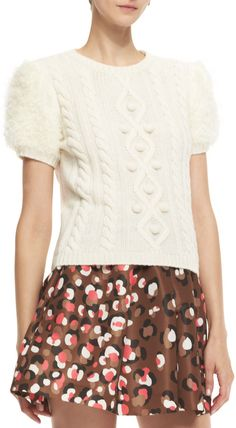 RED Valentino ED Vlentino Aran Short-Sleeve Cable-Knit Pullover on shopstyle.com