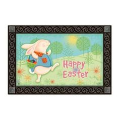 "Magnet Works EASTER MORNING MatMate Doormat Rug 18 x 30 by MatMates. $21.99. weather proof for indoor/outdoor use. non-slip recycled rubber backing. *****doormat tray not included******. 18"" x 30"" dye sublimated. MatMates are the latest addition to Magnet Works' lineup of high-quality decorative accessories. These beautiful mats are permanently dyed with state-of-the-art sublimation printing and made with an all-weather recycled rubber backing.  They measure 18"" x 30""."