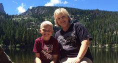 Missouri State Foundation staff member and alumna Denise Kettering and her son, Brooks, show their Bears pride at Bear Lake in Colorado.