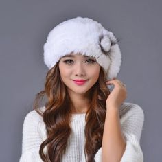 54.99$  Buy here - http://alinqv.worldwells.pw/go.php?t=32754035509 - hot Sale 2016 winter beanies fur hat for women knitted rex rabbit fur hat with fox fur flower top free size casual women's hat 54.99$