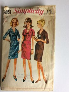 Vintage 60s Simplicity Sewing Pattern 7051 - Size 18 - Bust 38 inches - Vintage Dress Sewing Pattern - Vintage Cocktail Dress
