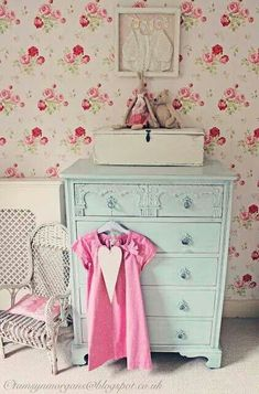 Cath Kidston wallpaper and like the dresser. just would have it more distressed