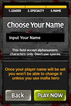 Mafia Hero - Choose Your Name