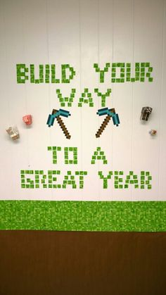 """Build your way to a great year"" Minecraft bulletin board for the classroom (by Ruth Madewell) Minecraft Classroom, Classroom Bulletin Boards, Classroom Themes, Class Decoration, School Decorations, School Themes, Construction Theme Classroom, Computer Lab Decor"