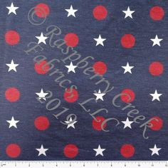 23b459b5c13 Navy Red and White Large Star Dot 2 Way Stretch Poly Rayon Spandex French  Terry Knit Fabric, By Courtney Graziano for CLUB Fabrics