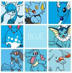 Blue Pokemon: Glaceon, Shynx, Dragonair, Azumarrill, Vaporeon, Riolu, Totodile, Phanphy. My favorite color ^^