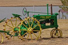 John Deere green.  Nicely restored.