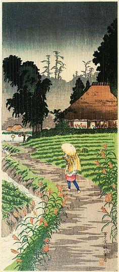 高橋松亭の現代版画 懐かしい日本の原風景 市の倉